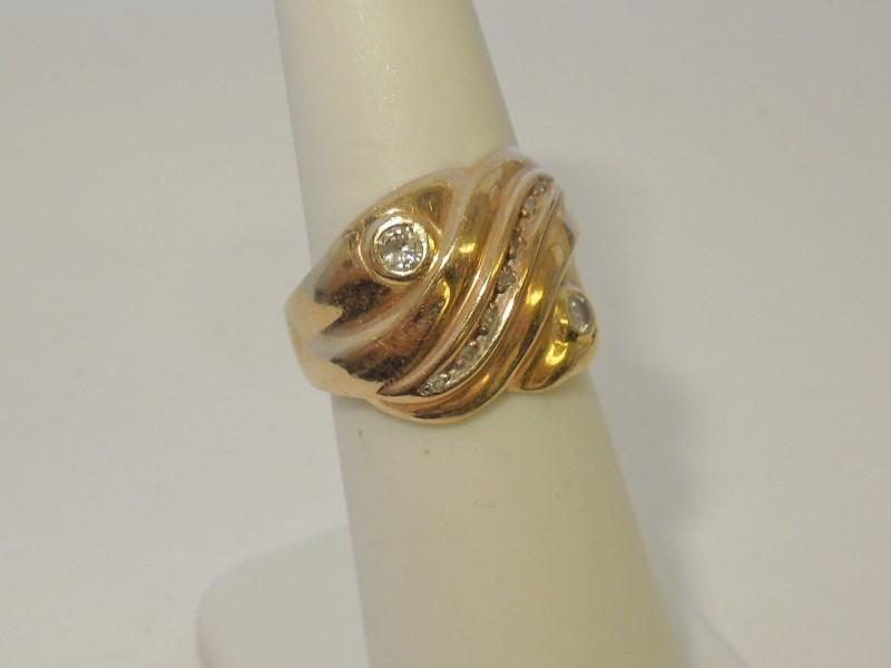 Lady's Diamond Fashion Ring 9 Diamonds .16 Carat T.W. 10K Yellow Gold 3.6g