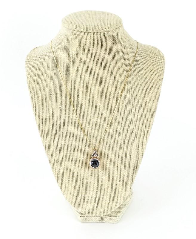 Black Diamond Pendant 16 Diamonds 1.74 Carat T.W. 18K Yellow Gold