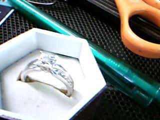 Lady's Silver-Diamond Ring 13 Diamonds .51 Carat T.W. 925 Silver 2.98g