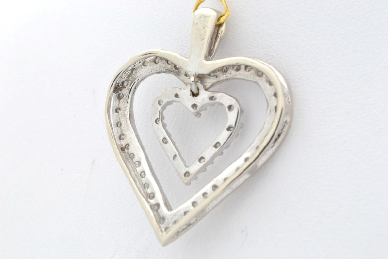 ESTATE DIAMOND DOUBLE HEART PENDANT CHARM SOLID 10K WHITE GOLD LOVE