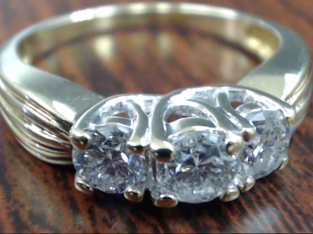 VINTAGE 3 NATURAL DIAMOND ENGAGE WED RING SOLID 14K GOLD SIZE 8.75