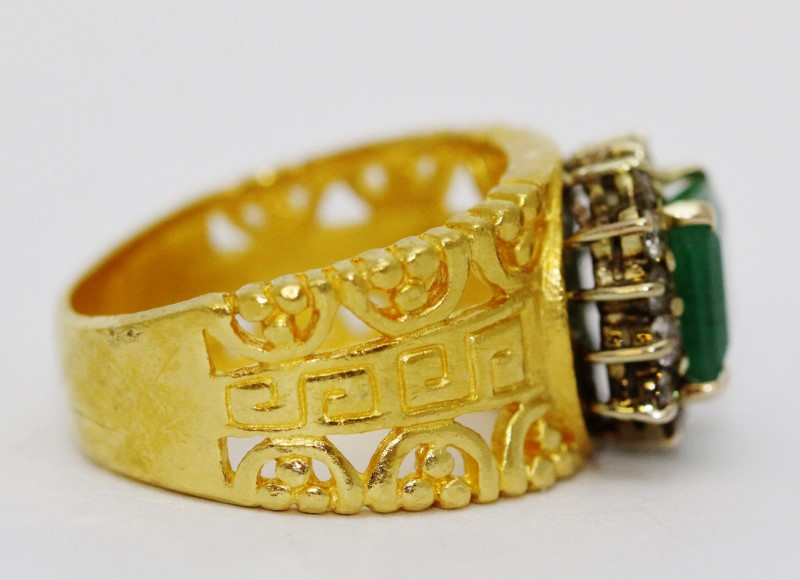 24K Yellow Gold Tribal Style Natural Princess Emerald & Diamond Halo Style Ring