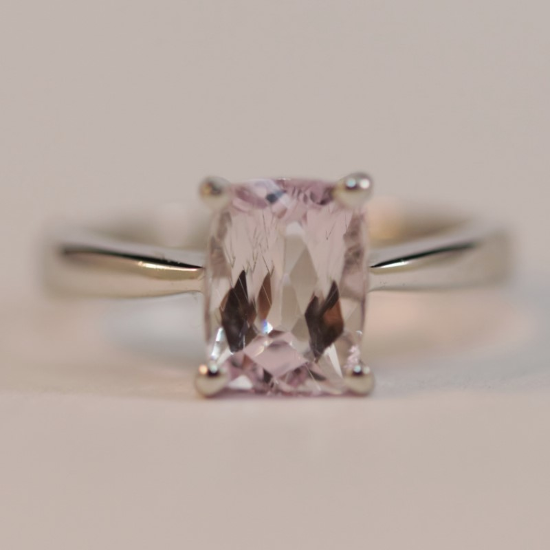 Silver Emerald Cut Kunzite Ring Size 5