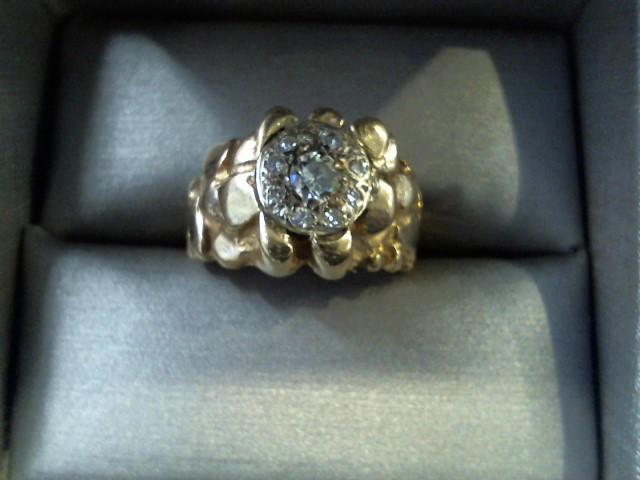 Gent's Diamond Cluster Ring 10 Diamonds .70 Carat T.W. 14K Yellow Gold 8.9g