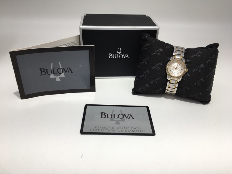 BULOVA Ladies Stainless Wristwatch 98R143 Box & Papers - AS IS -