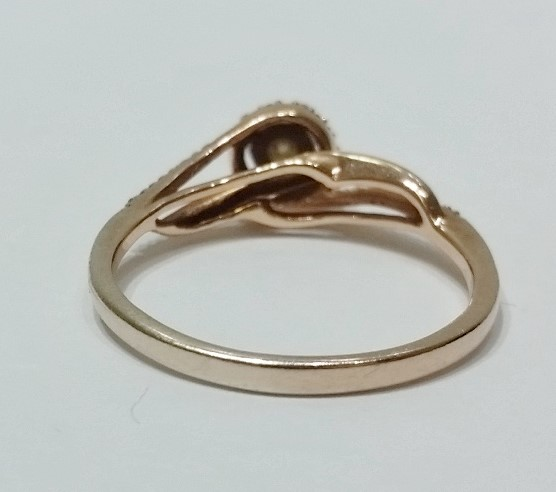 10K Rose Gold JWBR Cathedral Set Brown/Champagne Diamond Halo Engagment Ring sz7