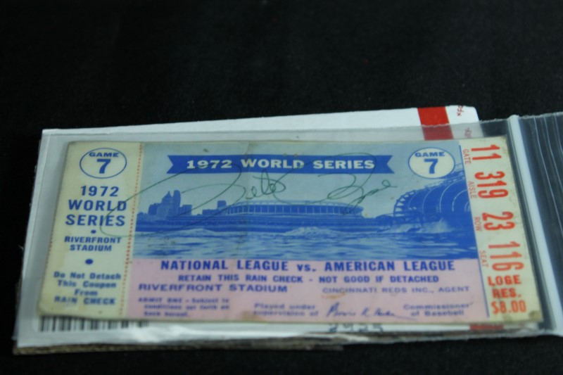 1972 World Series Game 7 Rain Check Signed By Pete Rose