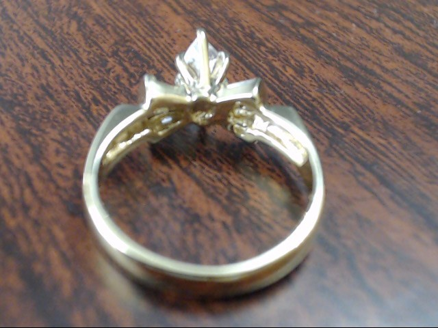 ESTATE CZ MARQUISE ENGAGEMENT WEDDING RING SOLID REAL 14K GOLD 5.25