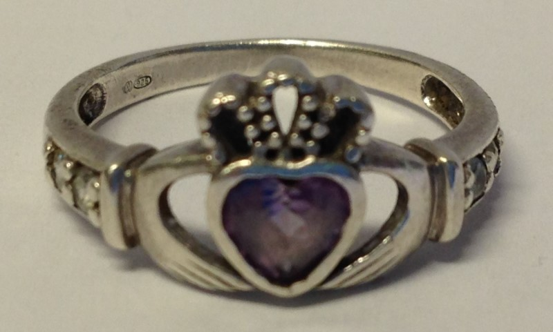 Sterling Silver Irish Celtic Claddagh Pink