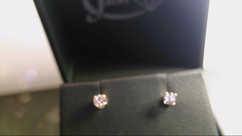 lady's 14k yellow gold round diamond earrings
