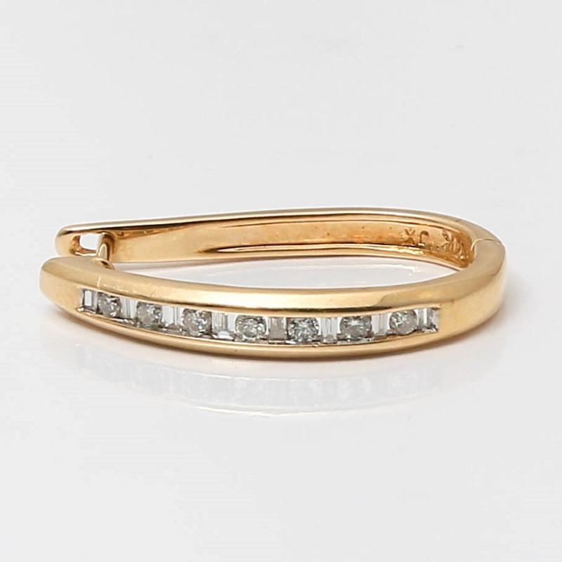 Tear Drop 14K Yellow Gold Round & Baguette Cut Diamond Earrings