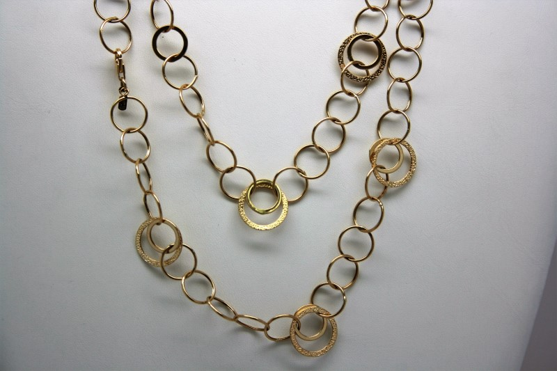 FASHION STYLE SMALL HOOPS NECKLACE 14K YELLOW GOLD 40""