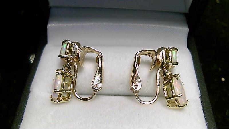 Opal Gold-Stone Earrings 14K Yellow Gold 4g Magnet Backs