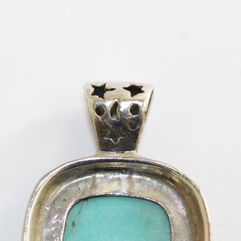 Sterling Silver Cabochon Cut Turquoise Pendant