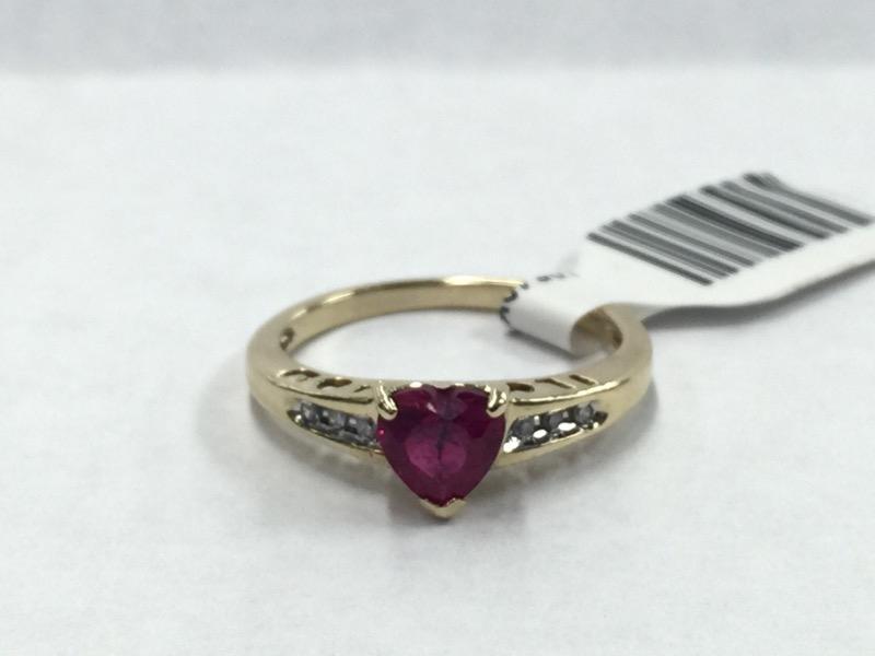 LDS 10KT Red Stone Lady's Stone & Diamond Ring 6 Diamonds .06 Carat T.W.