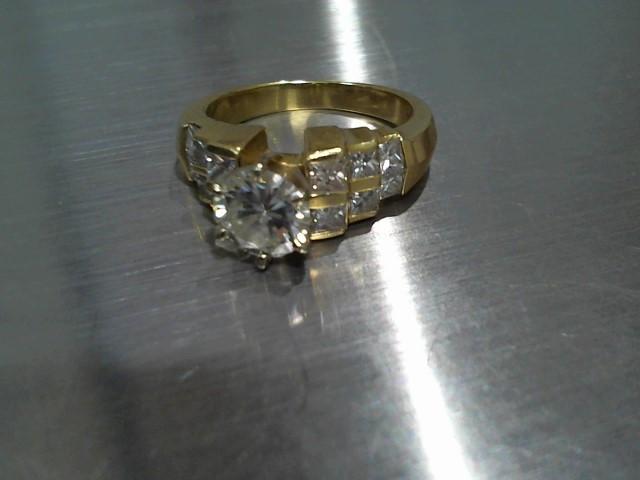 Lady's Diamond Engagement Ring 13 Diamonds 1.58 Carat T.W. 18K Yellow Gold 8.2g