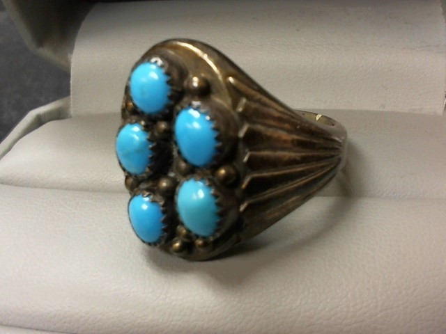 Turquoise Lady's Silver & Stone Ring 925 Silver 26.3g