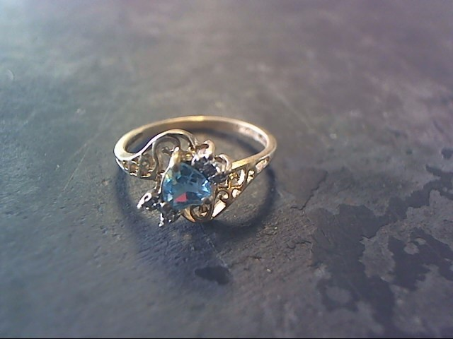 Blue Stone Lady's Stone Ring 10K Yellow Gold 1.1dwt