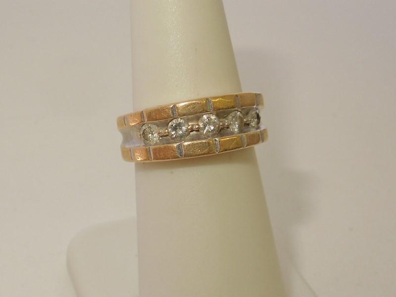 Lady's Gold-Diamond Anniversary Ring 5 Diamonds .45 Carat T.W. 10K Yellow Gold