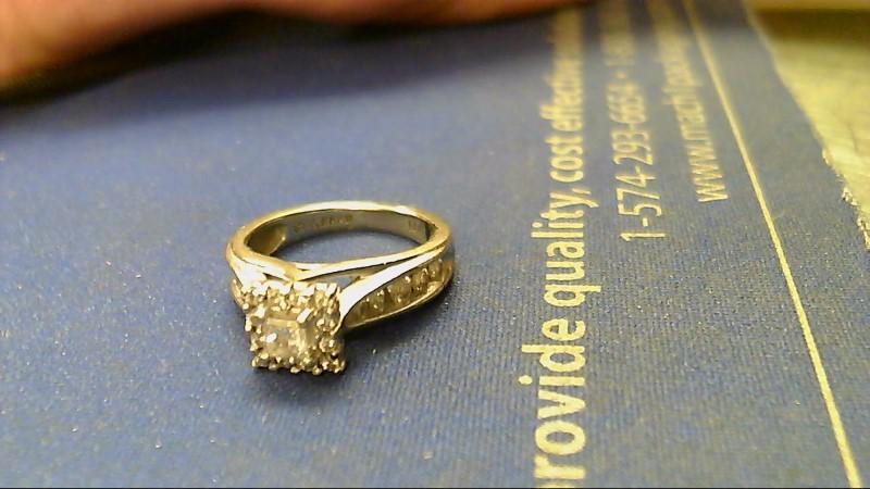 Lady's Diamond Engagement Ring 23 Diamonds 1.24 Carat T.W. 14K White Gold 4.6g