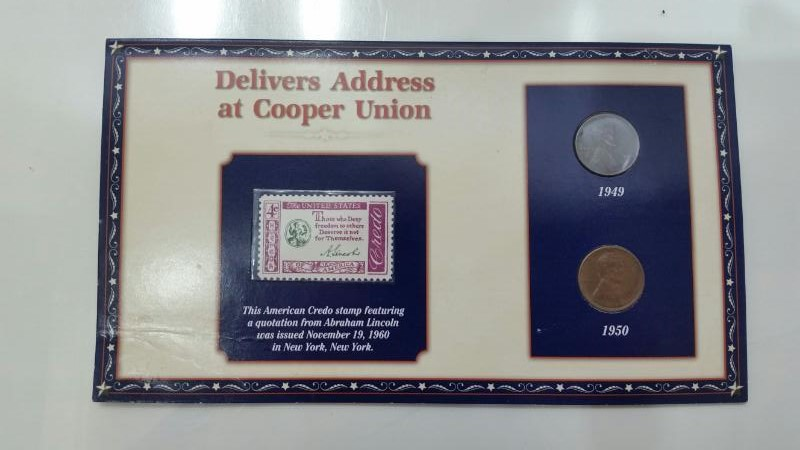 1949 & 1950 Lincoln Penny Delivers Address at Cooper Union Cent & Stamp