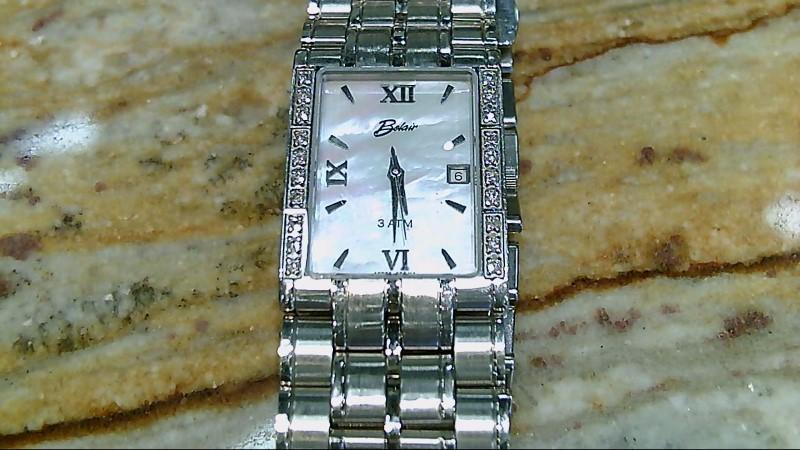 Mens 20 Diamond Bezel Belair MOP Dial Watch A5785 Swiss Qz