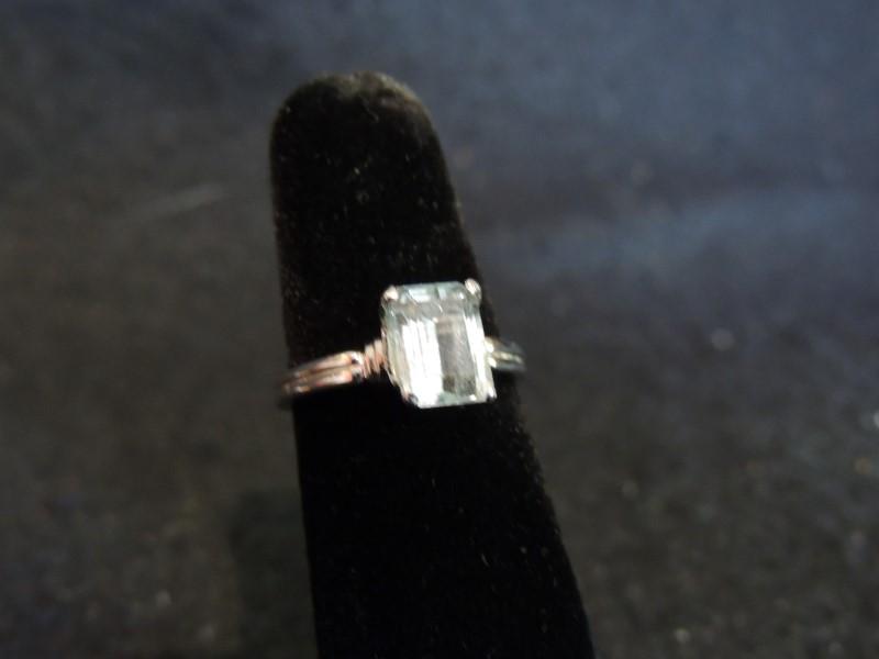 Synthetic Aquamarine Lady's Platinum-Stone Ring 950 Platinum 4.5g Size:6