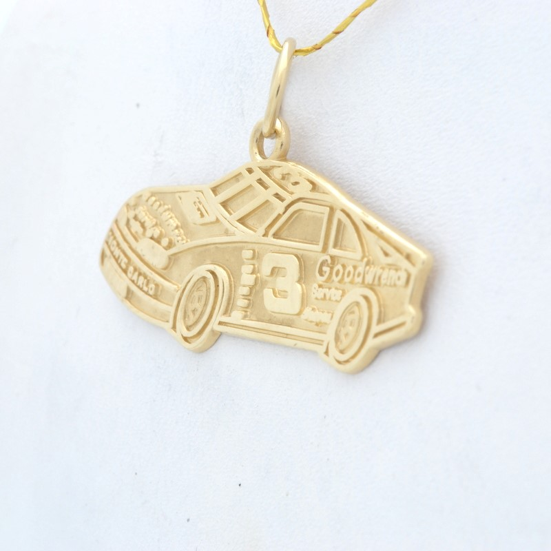 SOLID REAL 14K GOLD RACE CAR PENDANT CHARM NASCAR #3 DALE EARNHARDT