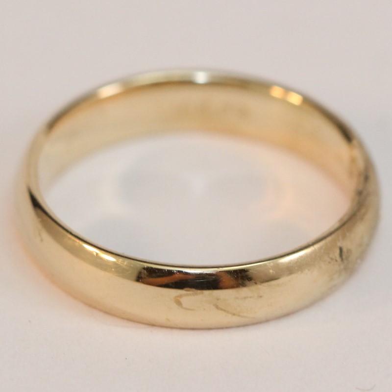 Women's 10K Yellow Gold Plain Polished Wedding Band Ring sz 7