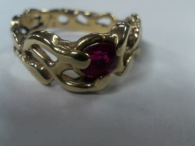 Ruby Lady's Stone Ring 14K Yellow Gold 4.3g