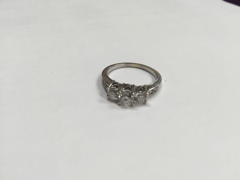 Lady's Diamond Engagement Ring 9 Diamonds .76 Carat T.W. 14K White Gold 3.6g