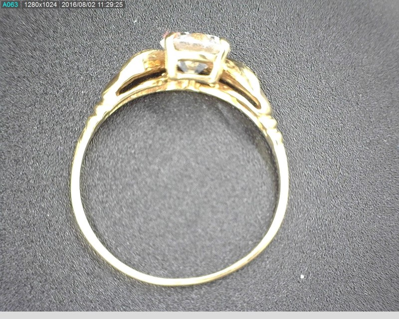 Synthetic Cubic Zirconia Lady's Stone Ring 14K Yellow Gold 2.3g Size:8