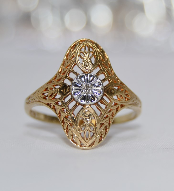10K Two Tone Yellow & White Vintage Inspired Leaf Filigree Diamond Shield Ring