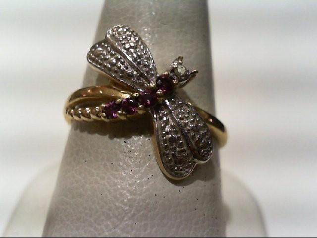 Lady's Diamond Fashion Ring .02 CT. 14K Yellow Gold 2.6g