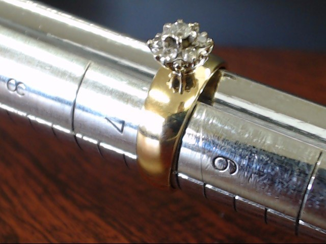 DIAMOND CLUSTER ENGAGE WED RING 6mm BAND REAL 10K GOLD 3.4g SZ 6.25