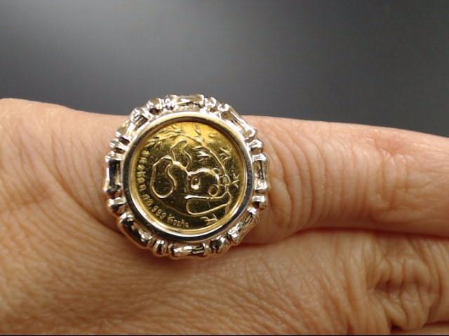1985 .999 1/20OZ PANDA COIN 14K GOLD RING CHINA BEZEL SET SIZE 4.25