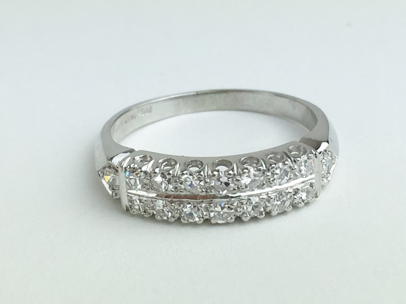 Lady's Platinum-Diamond Wedding Band Apx .80 CTW Size 7.25