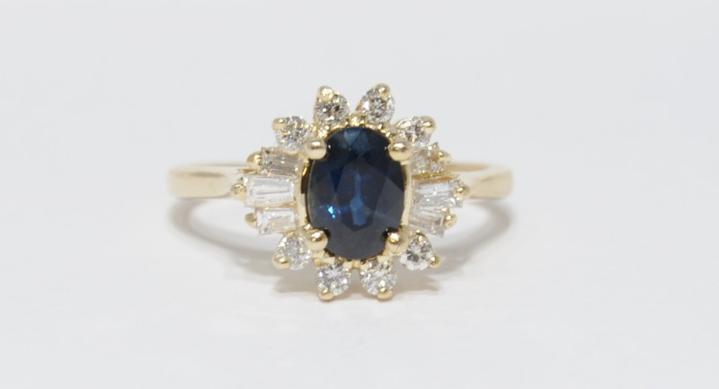 14K Yellow Gold Cathedral Basket Set Floral Sapphire & Diamond Halo Style Ring 6