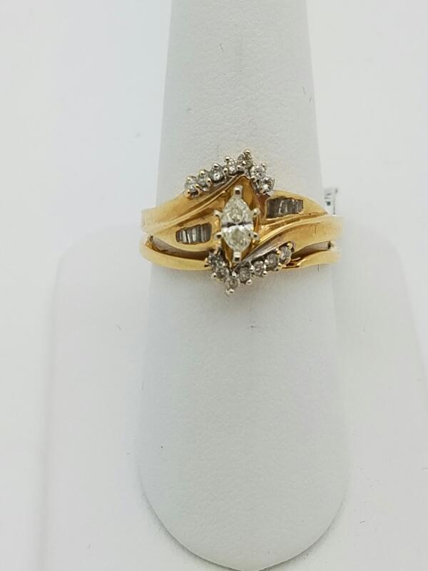 DIAMOND Lady's Diamond Wedding Set 15 Diamonds .39 Carat T.W. 14K Yellow Gold