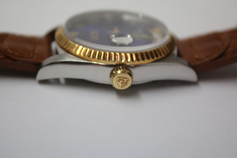 CROTON Gent's Wristwatch EQUATOR 18K GOLD & STAINLESS STEEL BAND/ BLUE DIAL