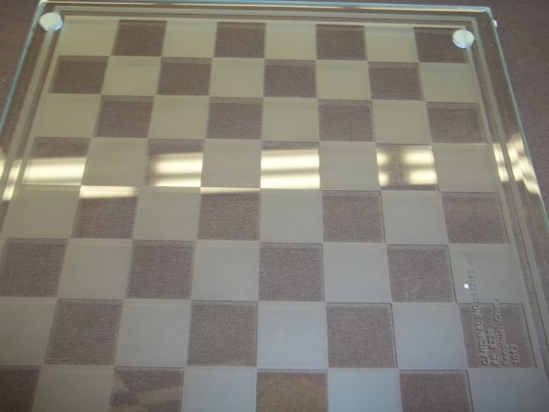 GLASS CHESS/CHECKERS SET