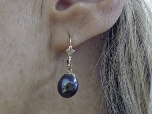 VINTAGE BLACK PEARL DANGLE DROP EARRINGS REAL 14K YELLOW GOLD