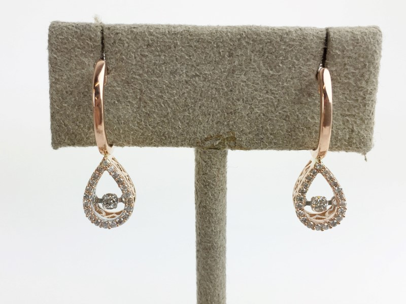 Diamond Earrings 45 Diamonds .45 Carat T.W. 10K Rose Gold 3.07g