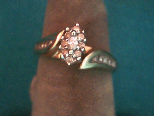 Lady's Diamond Cluster Ring 14 Diamonds .17 Carat T.W. 10K Yellow Gold 2.4dwt
