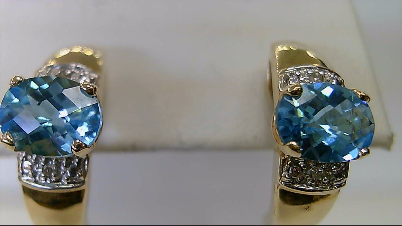 ESTATE YG 8X6 OVAL BLUE TOPAZ WITH MELLE RD DIAMOND ACCENT STUD EARRINGS