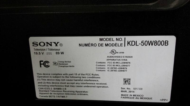 SONY Flat Panel Television KDL-50W800B