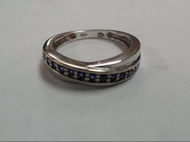 Synthetic Sapphire Lady's Stone Ring 14K White Gold 3.3g