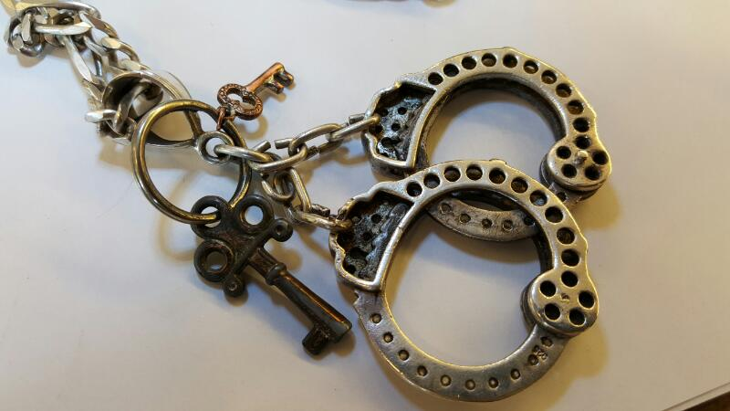 """BIG 800 SILVER MOVABLE HAND CUFFS, 2-1/4"""", CLEAR CRYSTAL ACCENTS, 7MM .925 CHAIN"""