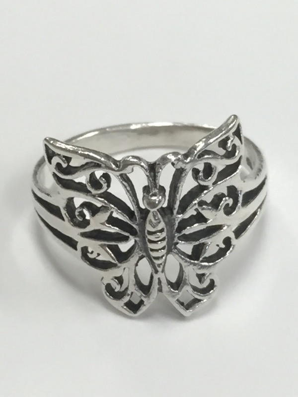 BUTTERFLY STERLING SILVER RING Size:7
