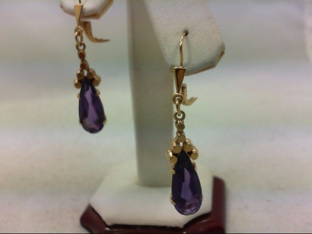Amethyst Gold-Stone Earrings 14K Yellow Gold 4.9g